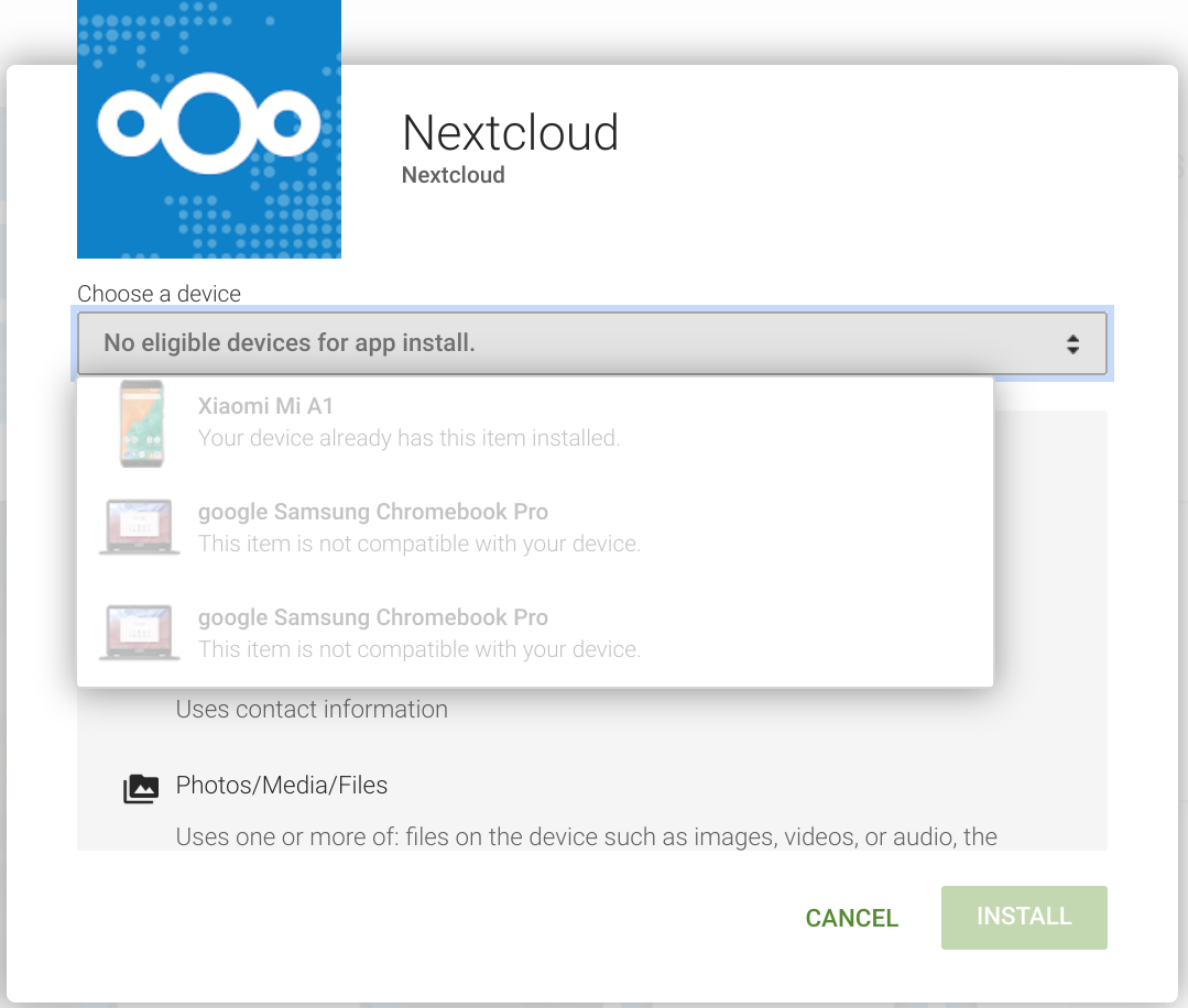Cannot install Nextcloud client in Samsung Chromebook Pro