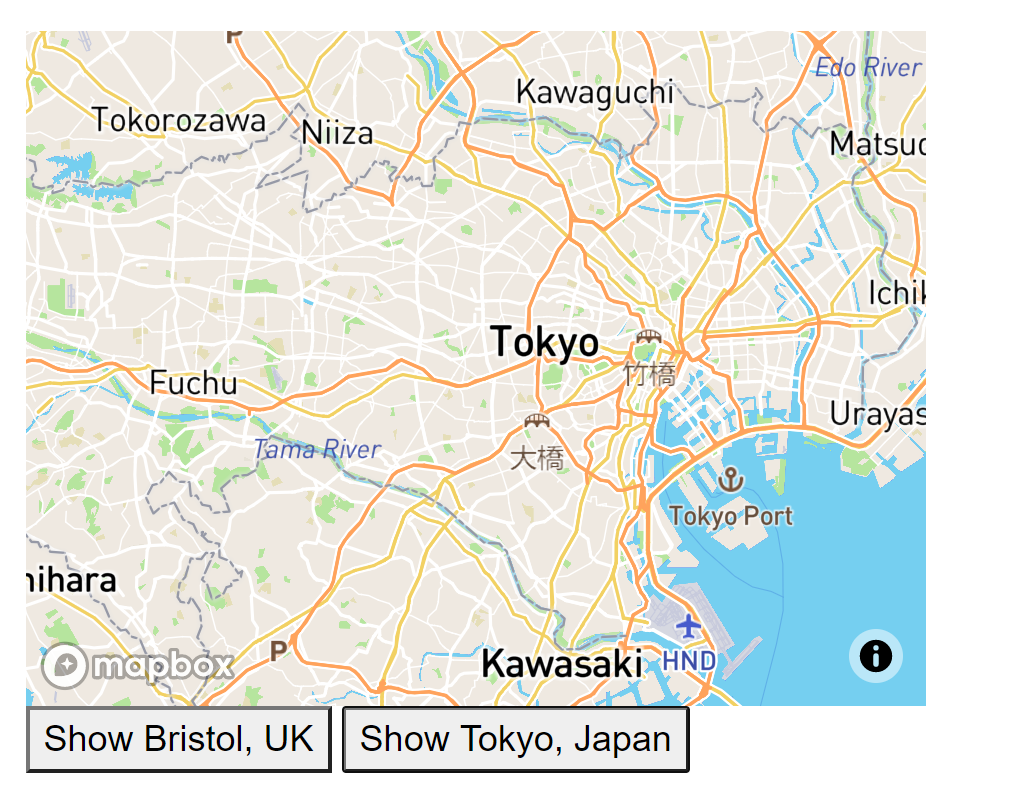 Mapbox street map of Tokyo, Japan with buttons to select Bristol, United Kingdom and Tokyo, Japan