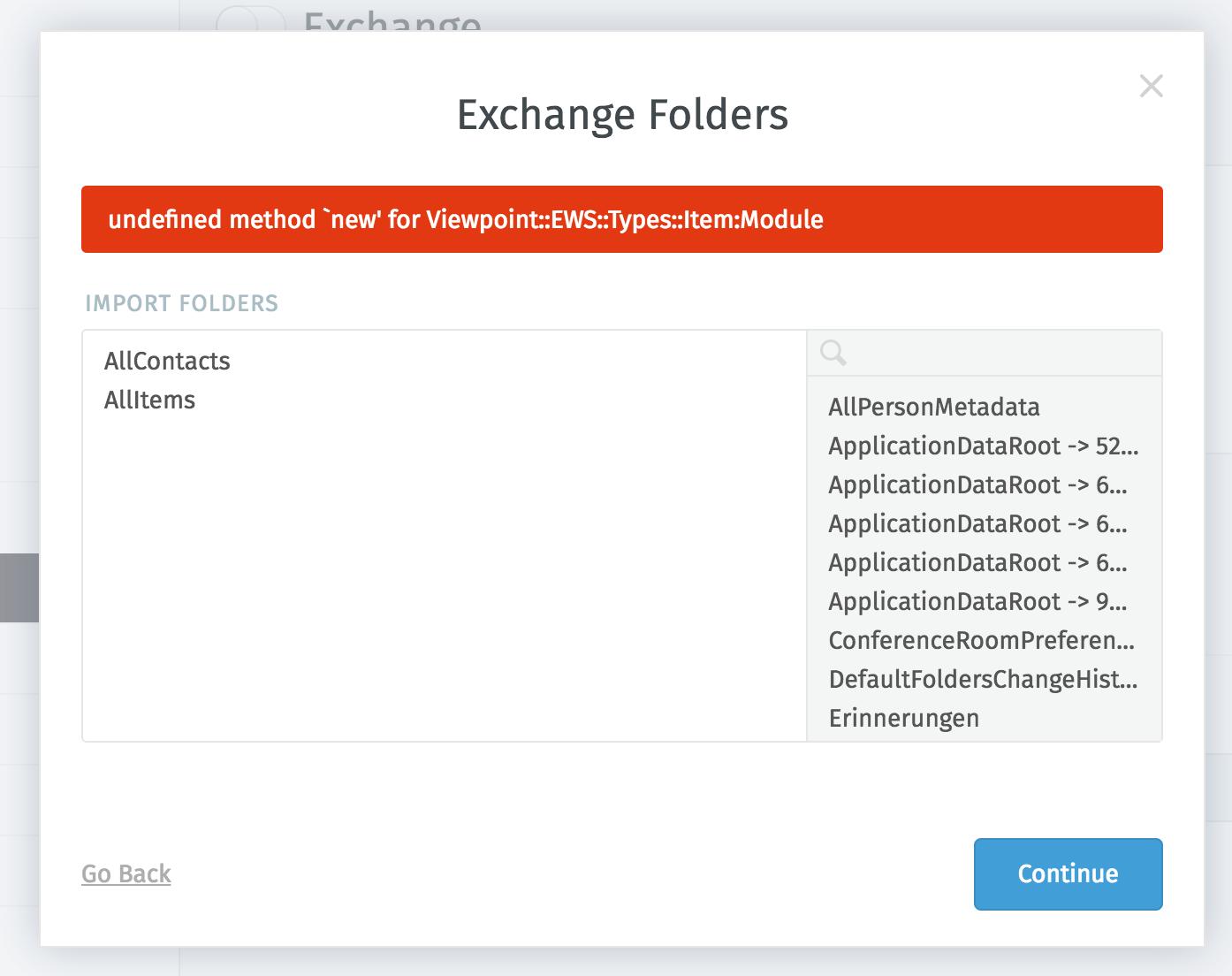 Exchange config with error message · Issue #1381 · zammad