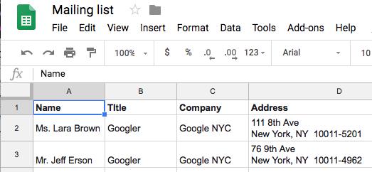 sample Sheets data source