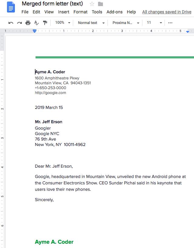 Mail merge | Google Docs API | Google Developers