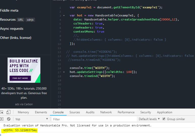 UpdateSettings works very slow for hiddenColumns · Issue