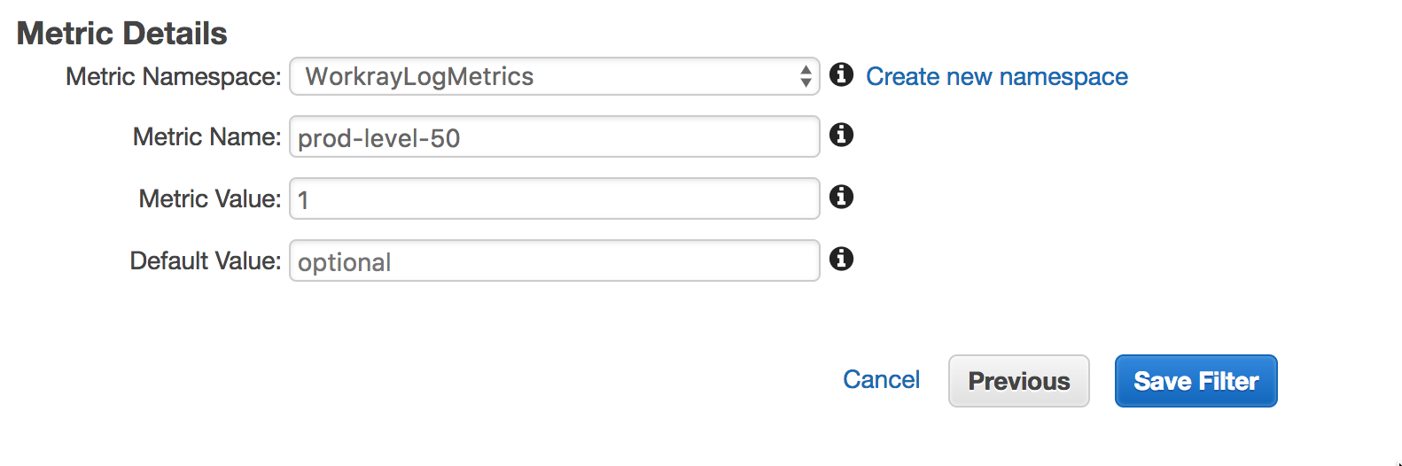 Please add support for default values in Cloudwatch Metric