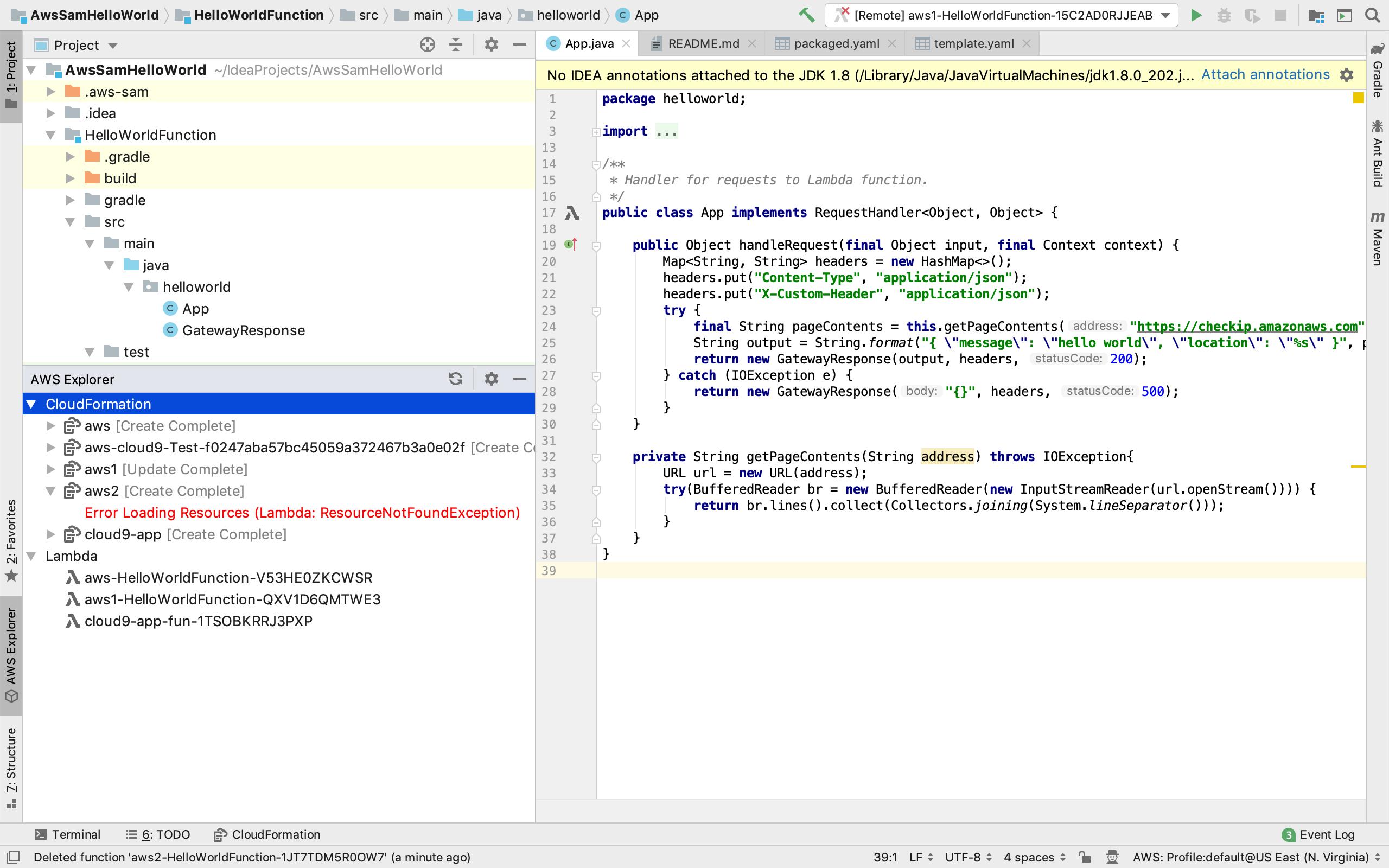 Error displayed in AWS explorer when deleting lambda/stack