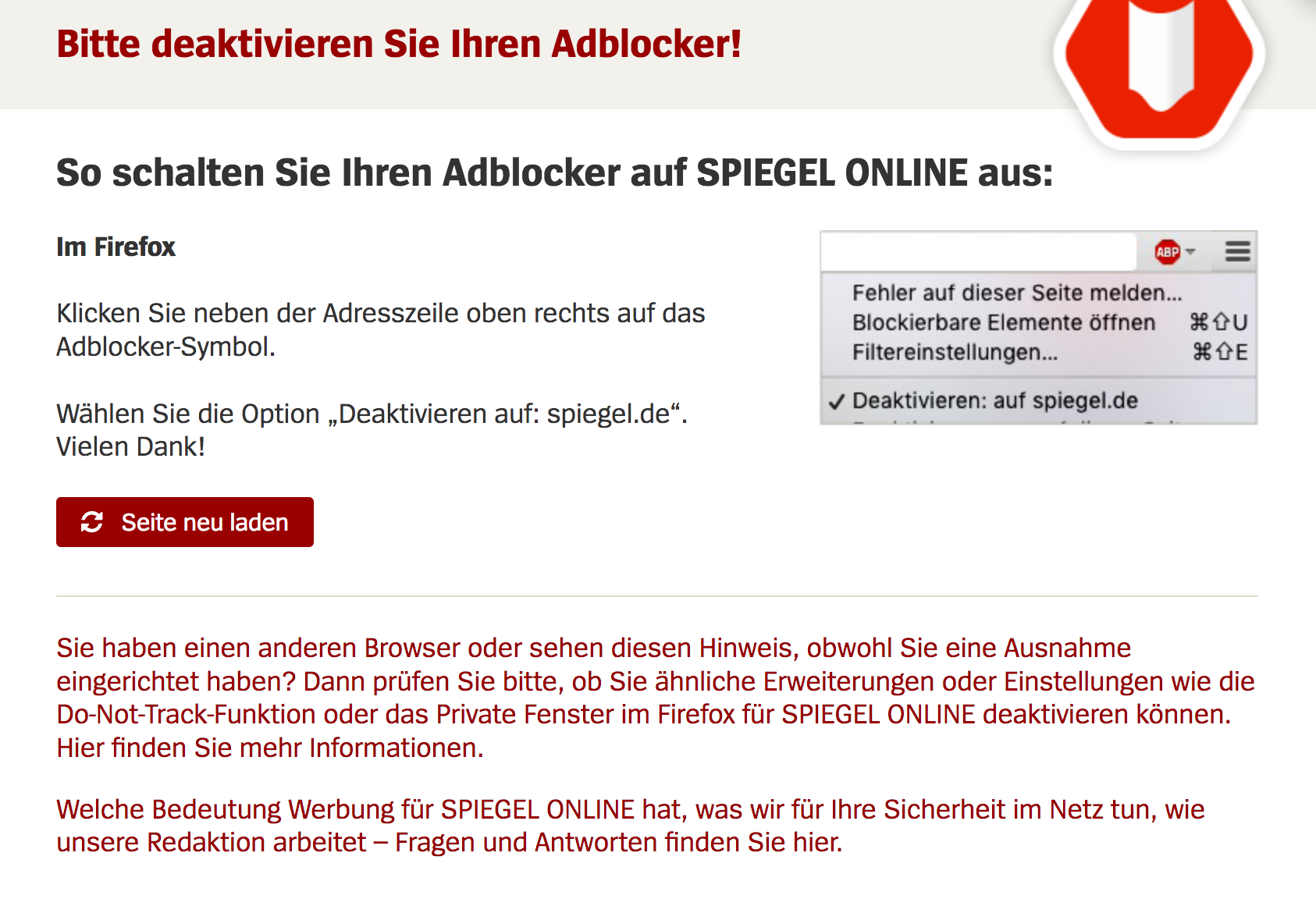 Der Spiegel De.Www Spiegel De Is Withholding Contents Even When Whitelisted Pb