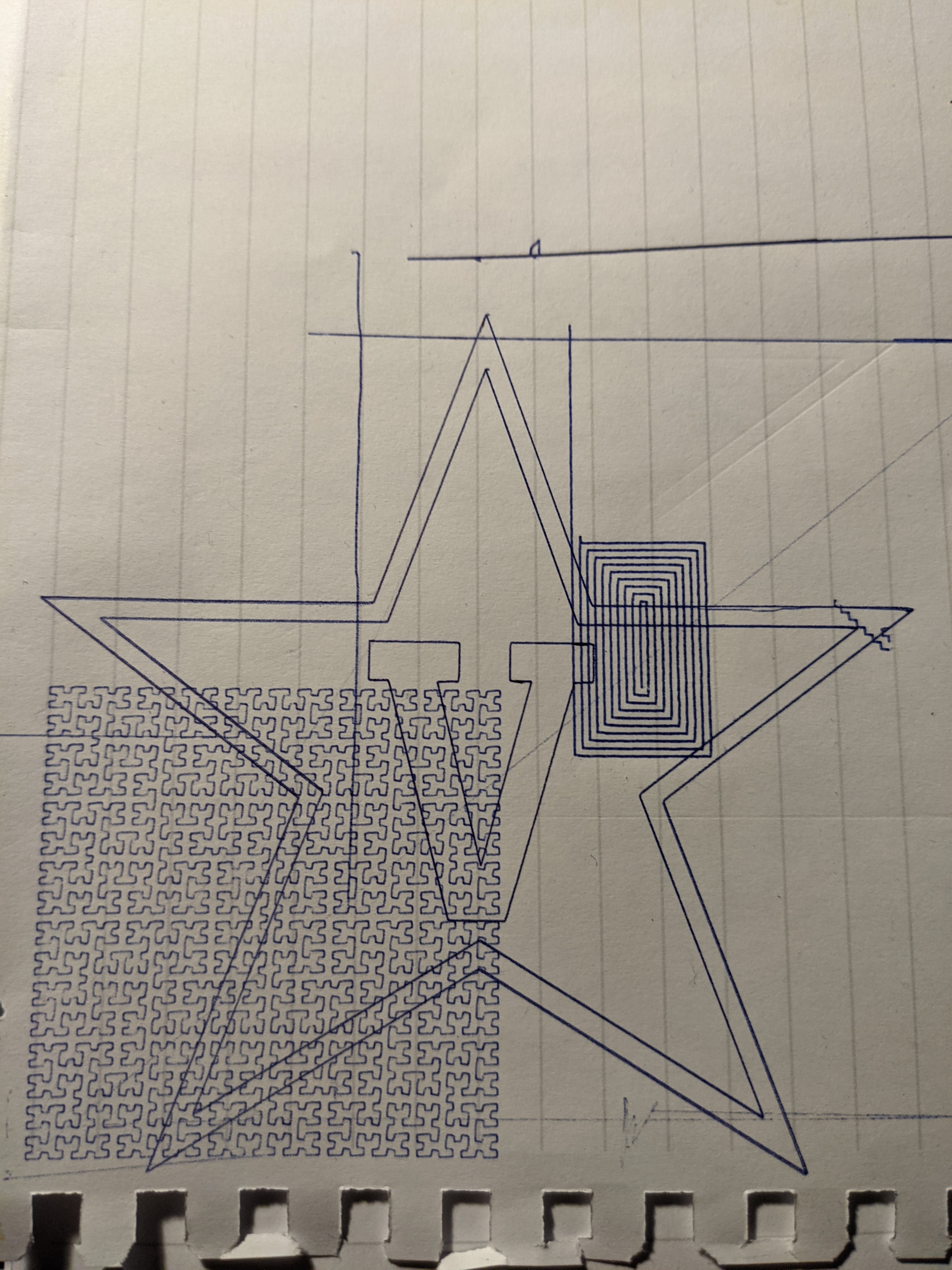 Picture of a 5-point star drawn by a pen plotter using a blue pen