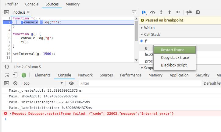 Restart frame is broken · Issue #28493 · nodejs/node · GitHub