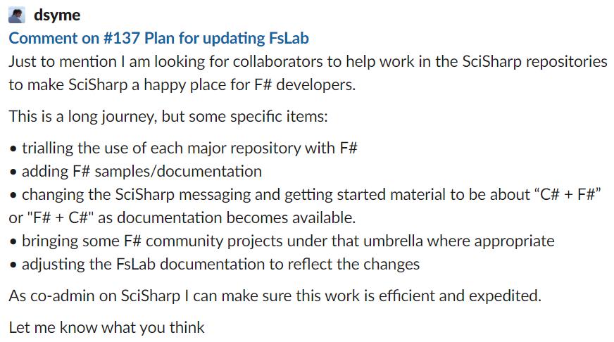 FsLab SciSharp contribute