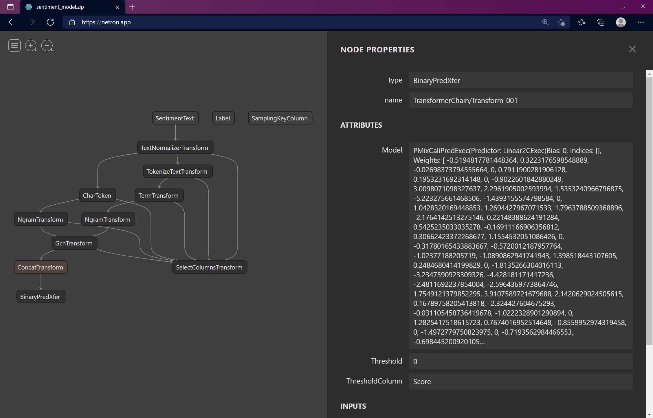 ML.NET Netron Binary Predictor
