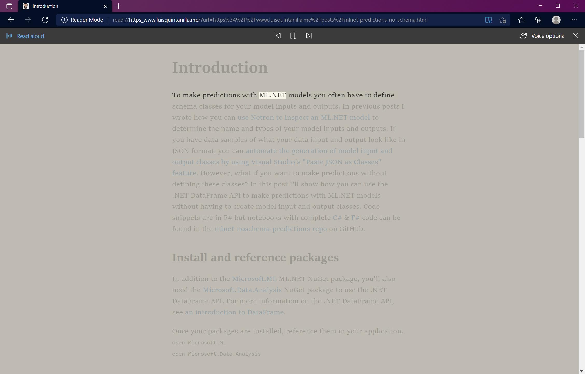 Microsoft Edge Immersive Reader read aloud reading blog post