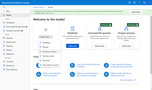 Create new Azure Machine Learning compute instance