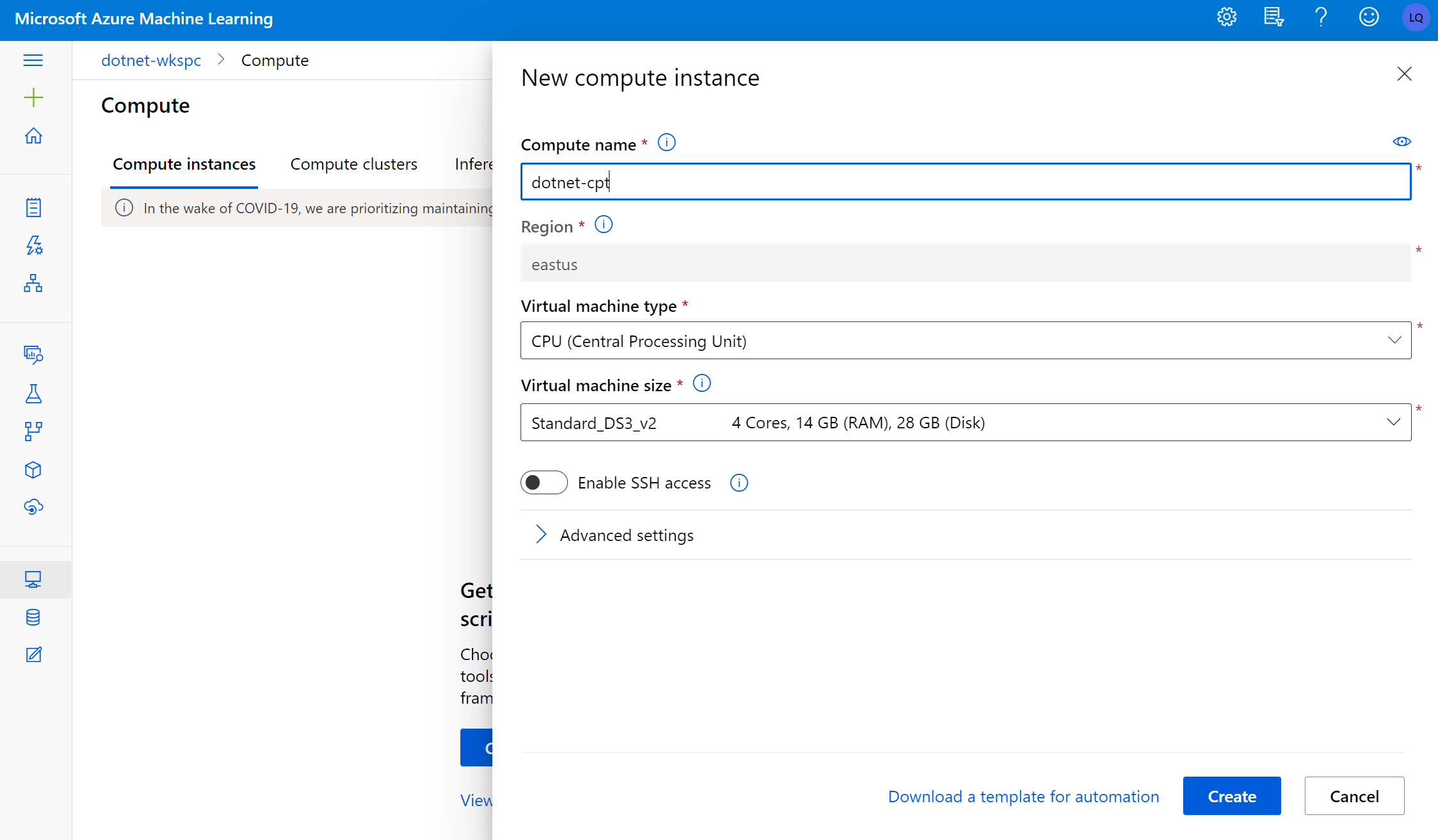 Provision Azure Machine Learning compute instance