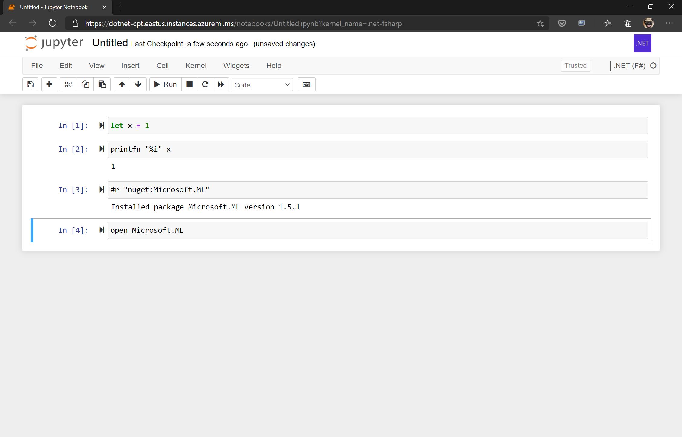 FSharp Jupyter Notebook running in AML compute instance