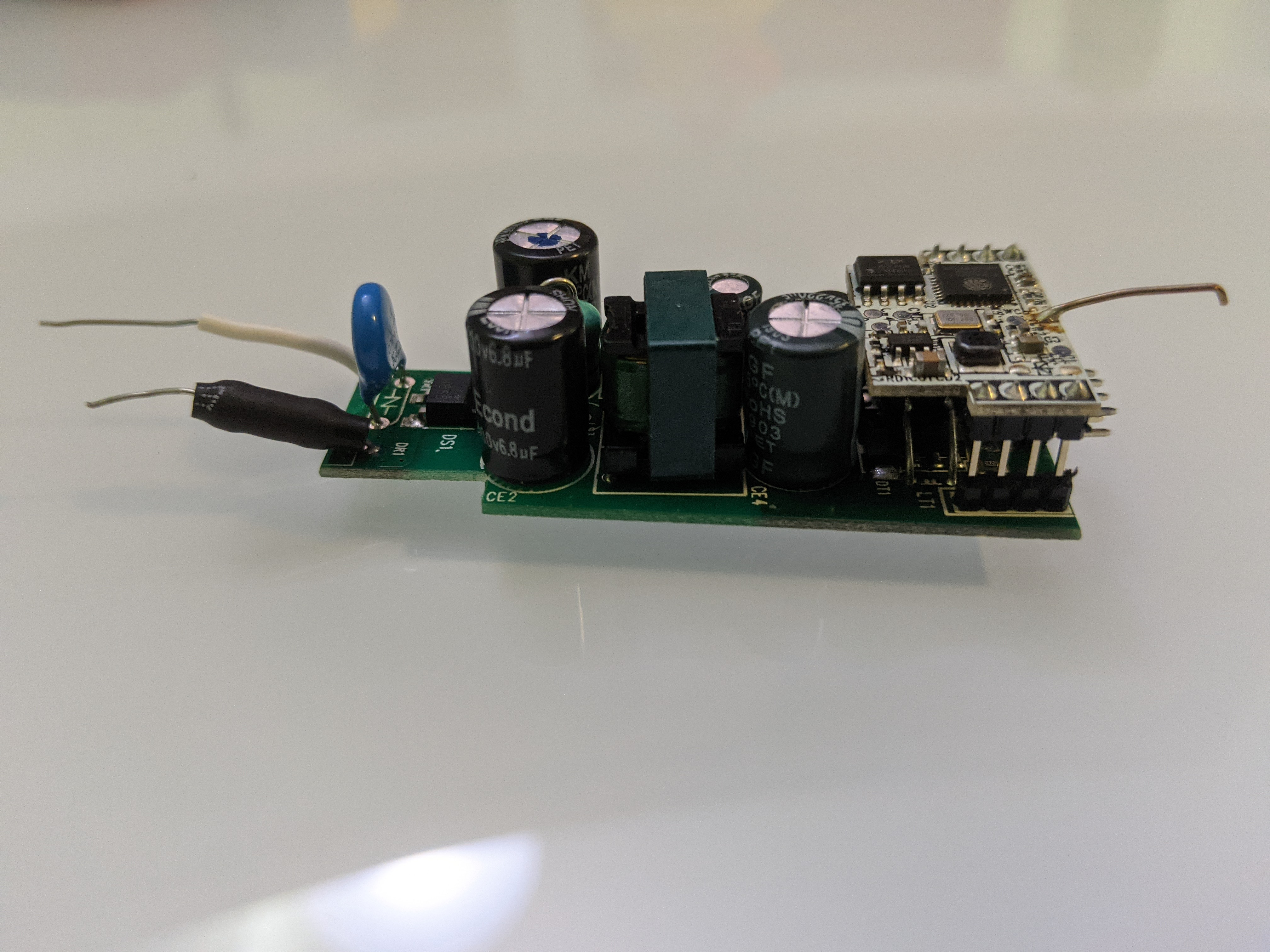 Side view of PCB and power board