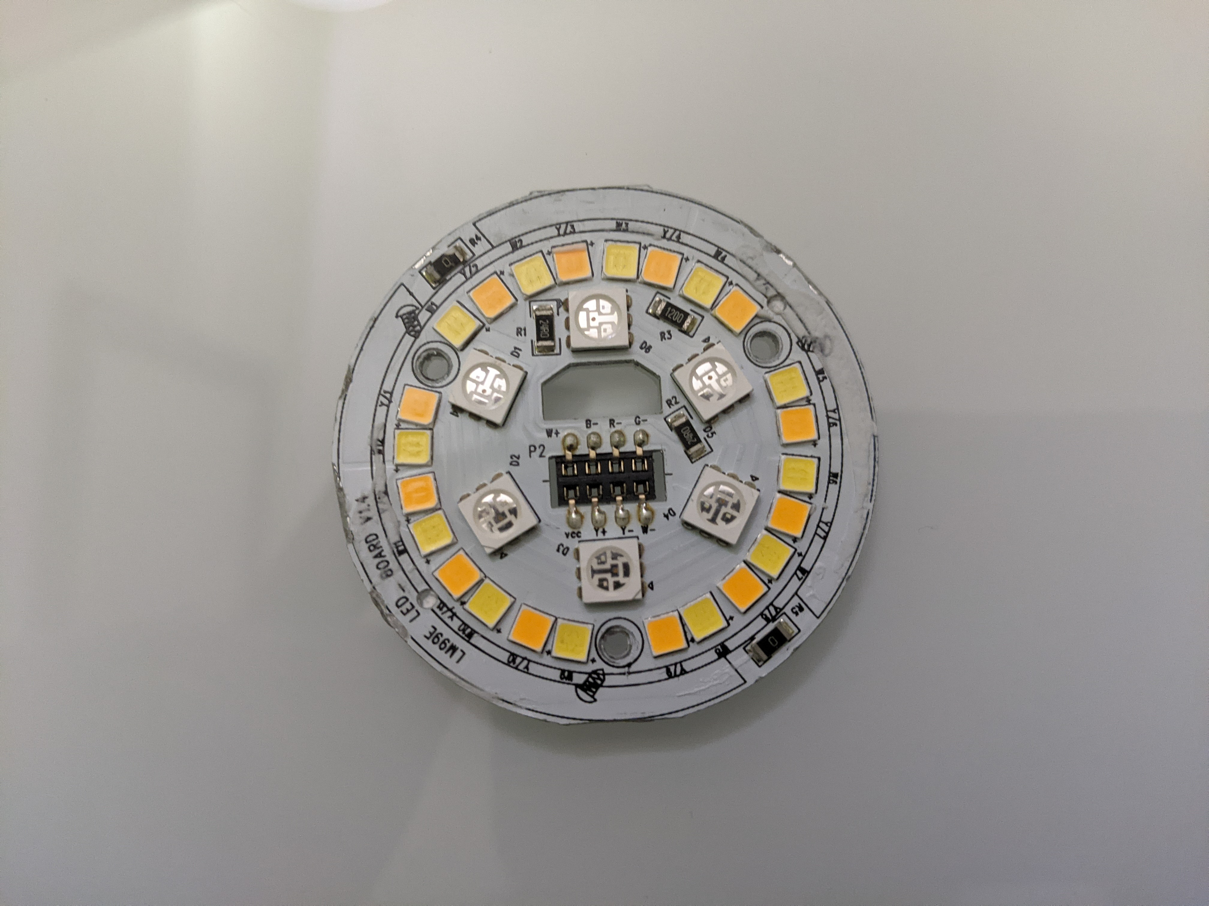 Top view of LED board