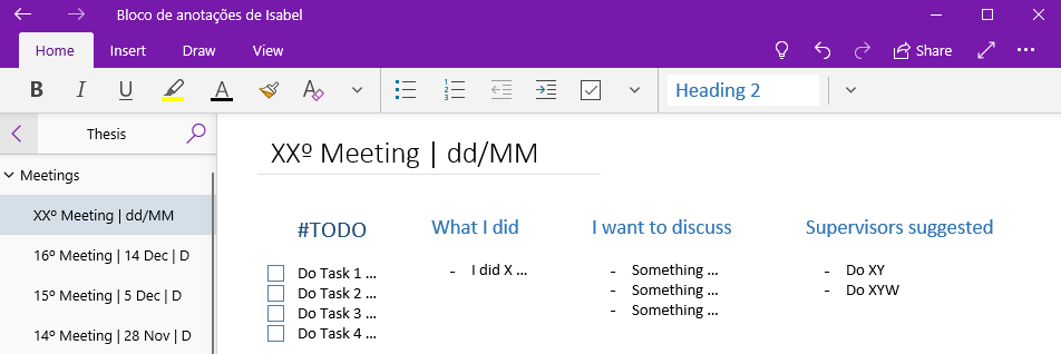 Example of my organization on OneNote
