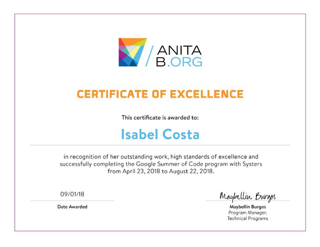 Digital Certificate for my outstanding work during GSoC with Systers Community