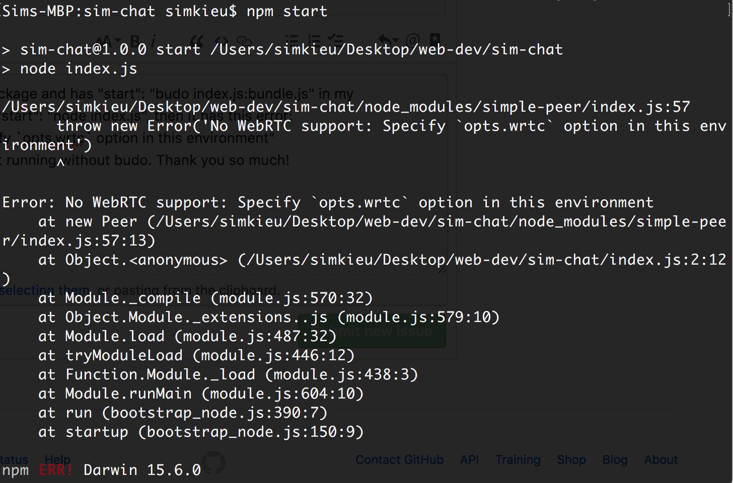Error: No WebRTC support: Specify `opts wrtc` option in this