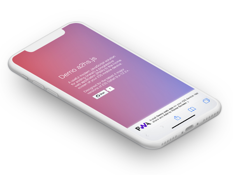 iPhone X mockup a2hs.js