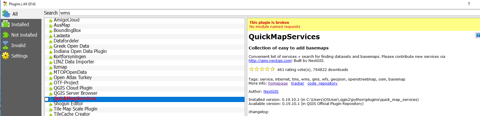 failed to add quickmapservices plugin on qgis 2 14 9 - the