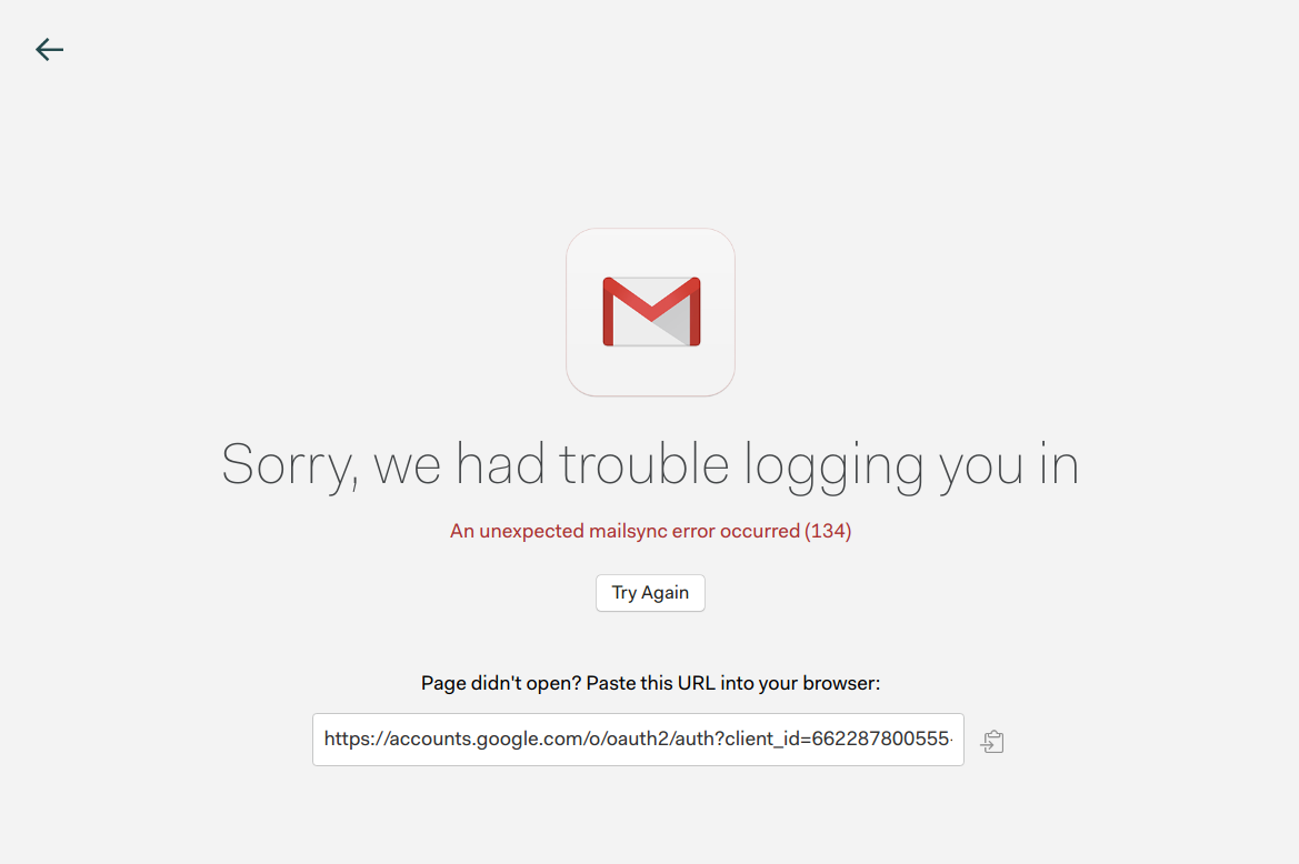 Error 134 (SIGABRT) when connecting a Gmail account · Issue