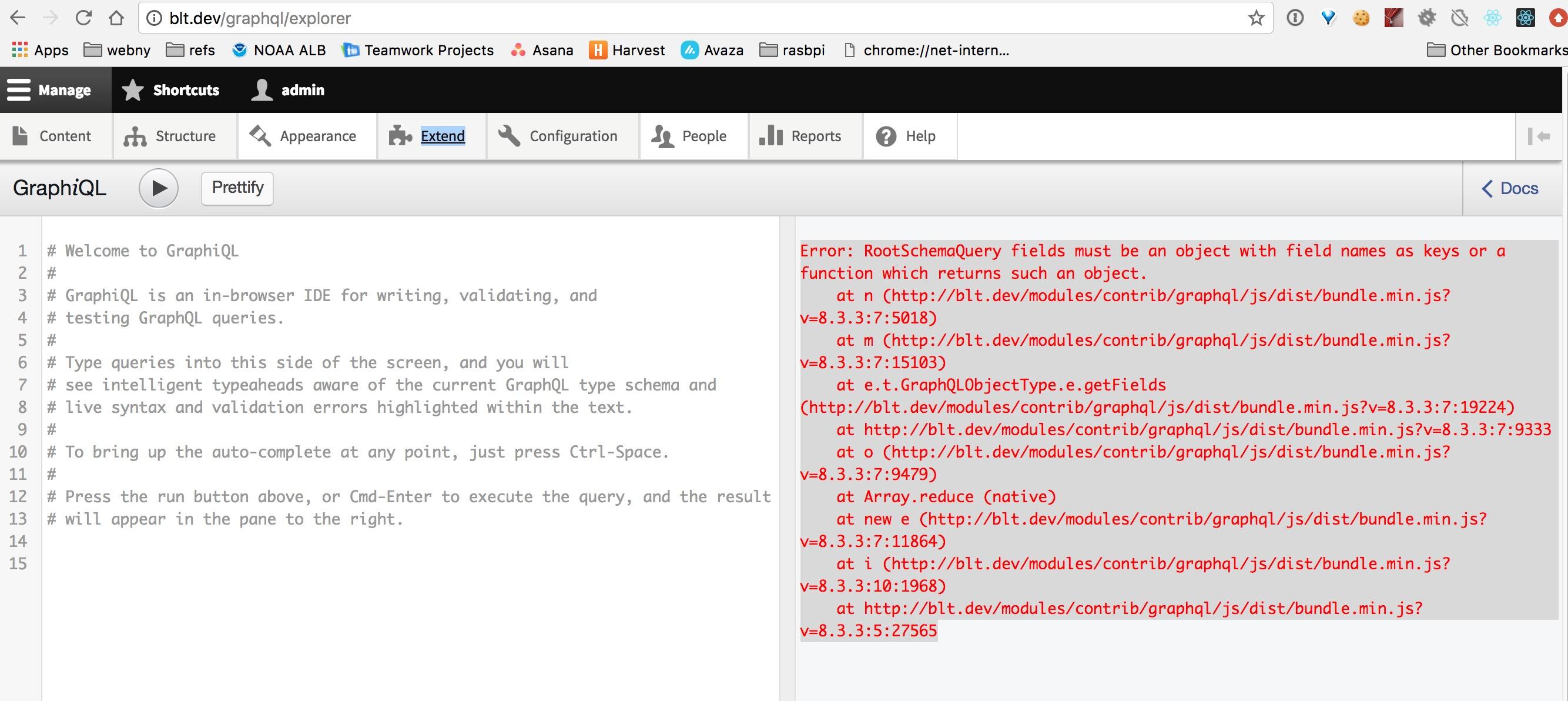 Explorer displays error message after stock drupal install