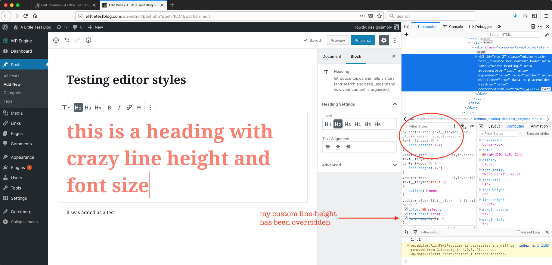 Editor stylesheet CSS specificity issues · Issue #10067