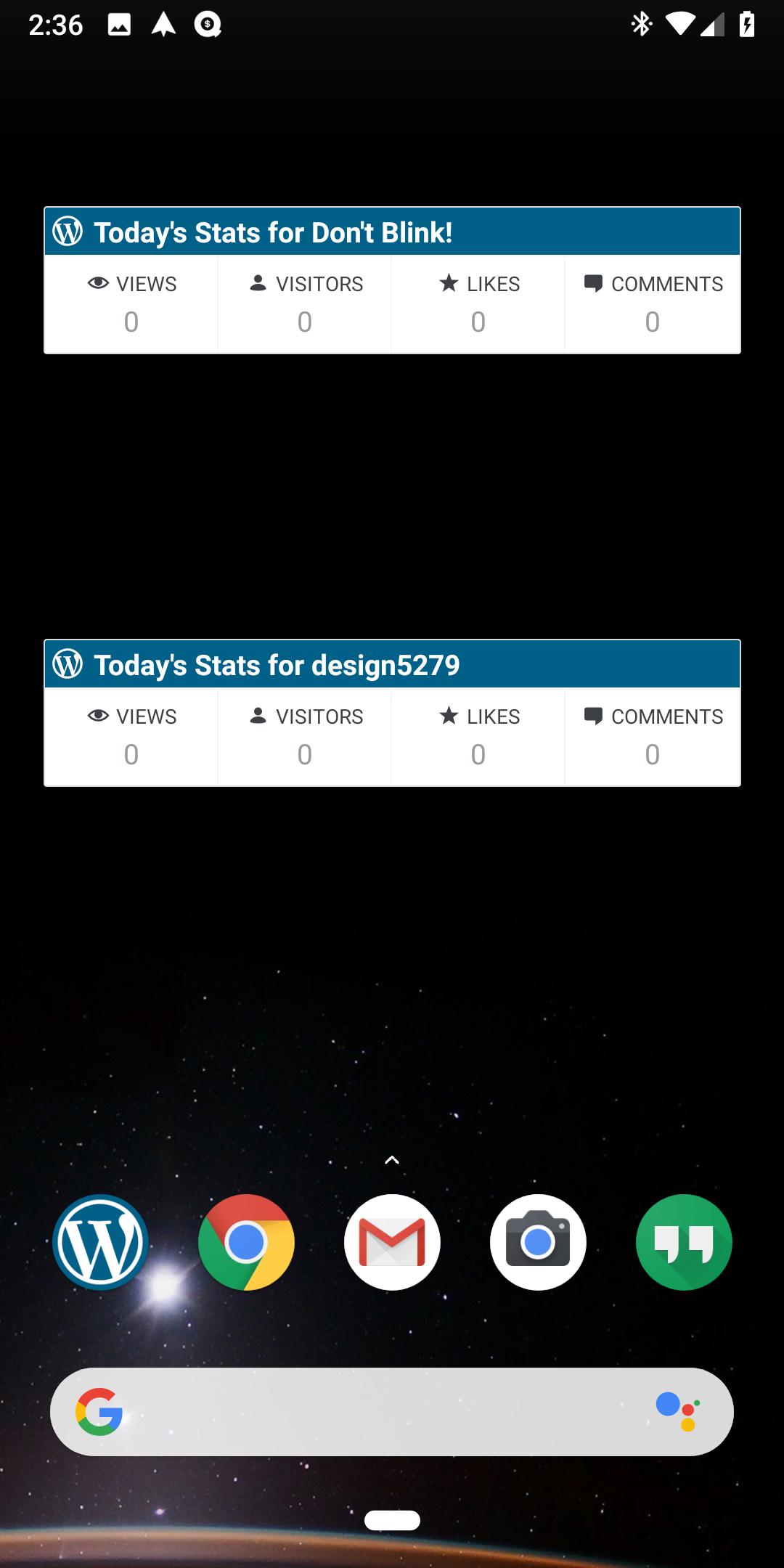 Stats Widget: WordPress Today's Stats widgets load the wrong