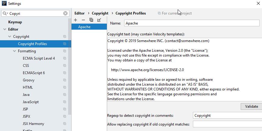 Support default copyright format of IntelliJ IDEA · Issue #134