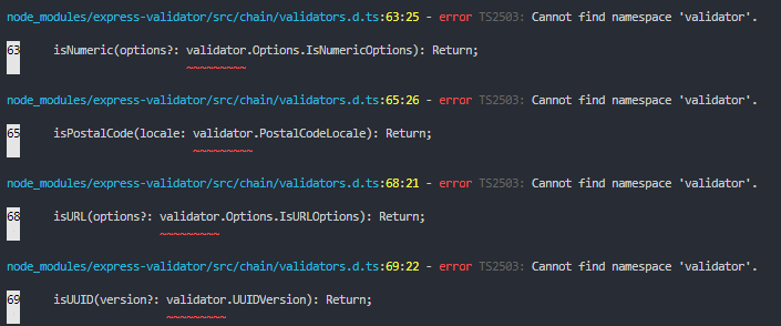 Typescript] TS2503: Cannot find namespace 'validator' · Issue #726