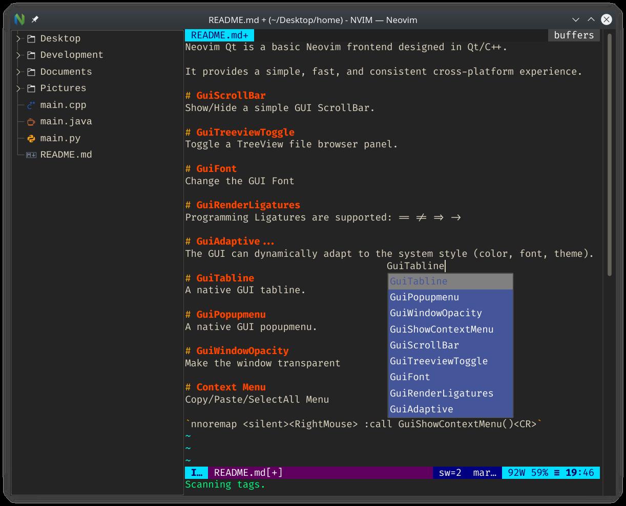 NeovimQt Screenshot