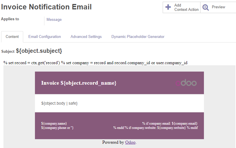 10 0] Email - >Templates -> Sale Order Notification Email is