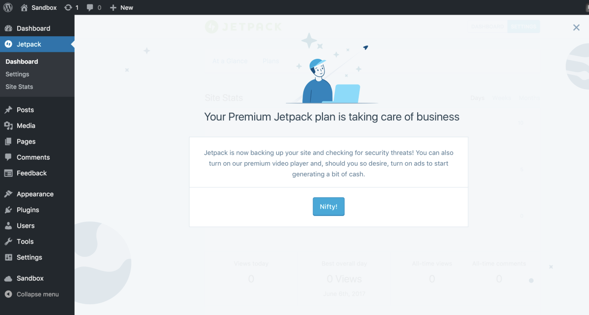 Welcome message post-purchase on Jetpack dashboard · Issue #7374