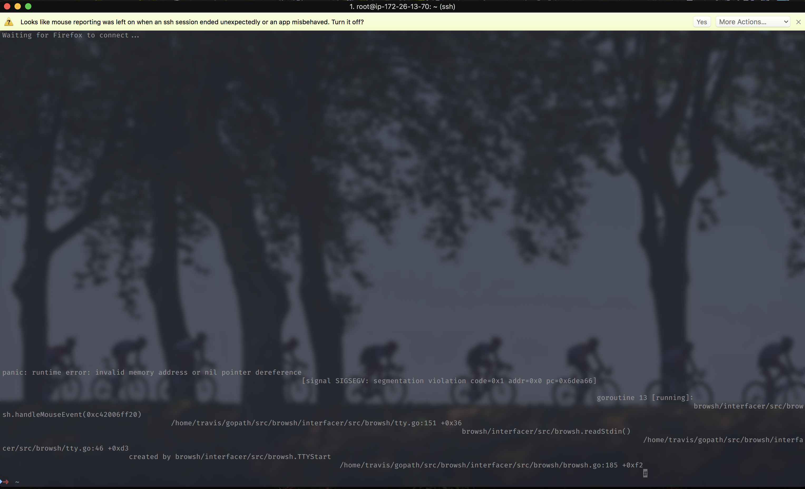 browsh crashes in iTerm2 on MacOS · Issue #94 · browsh-org