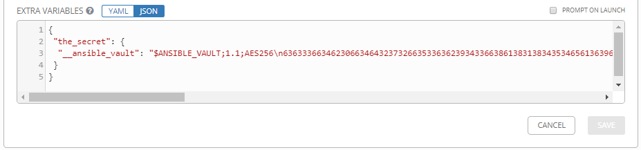Permit vaulted passwords in extra variables through GUI and
