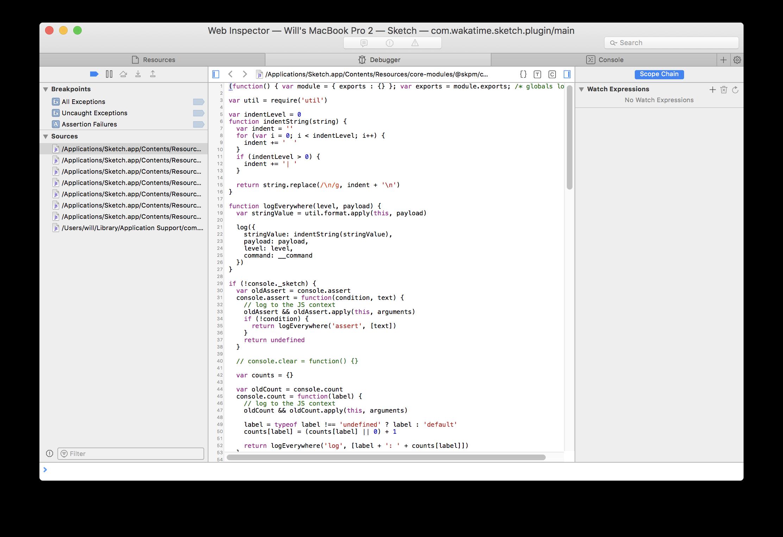 Safari Debug Console Opens Randomly When Wakatime Sketch Plugin Is Installed Issue 7 Wakatime Sketch Wakatime Github