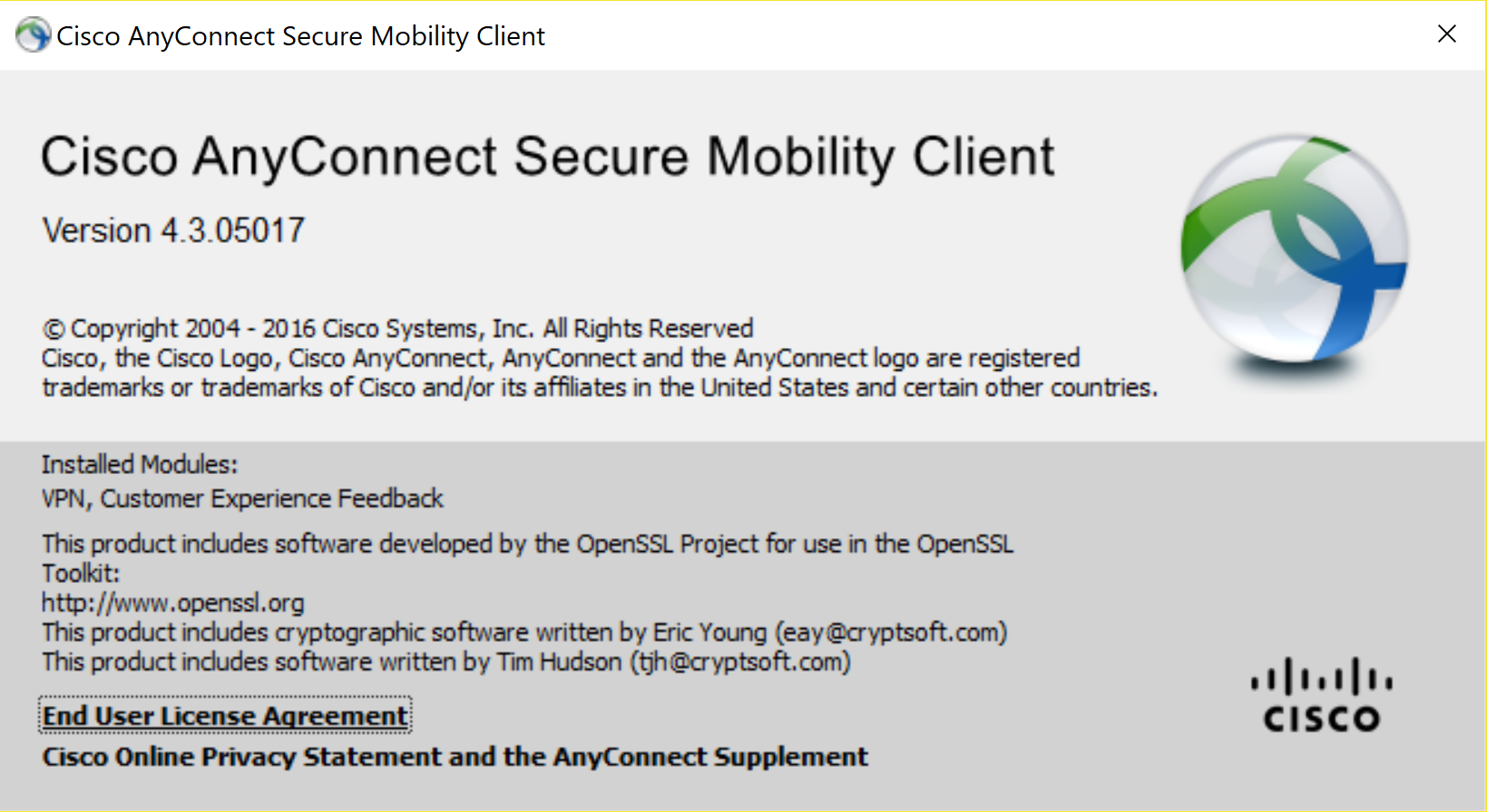CISCO Anyconnect Secure Mobile Client causes Bash to loose