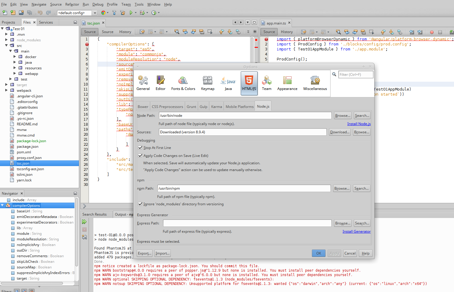 NetBeans 8 2, JHipster (Maven) and TypeScript plugin · Issue