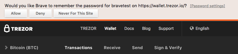 Trezor passphrase being saved to password list and offered