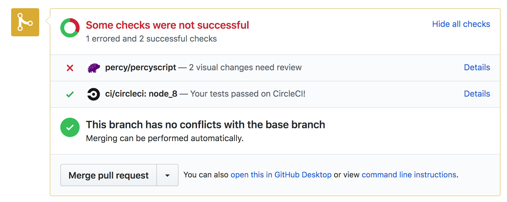 GitHub pull request with Percy status update showing visual changes detected
