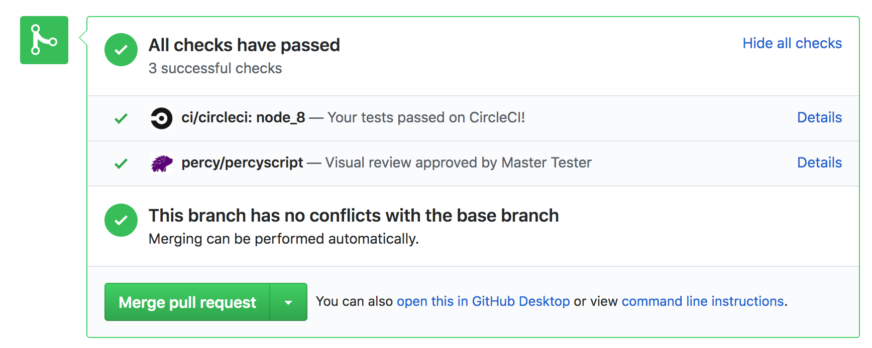 GitHub pull request with Percy status update ready to merge