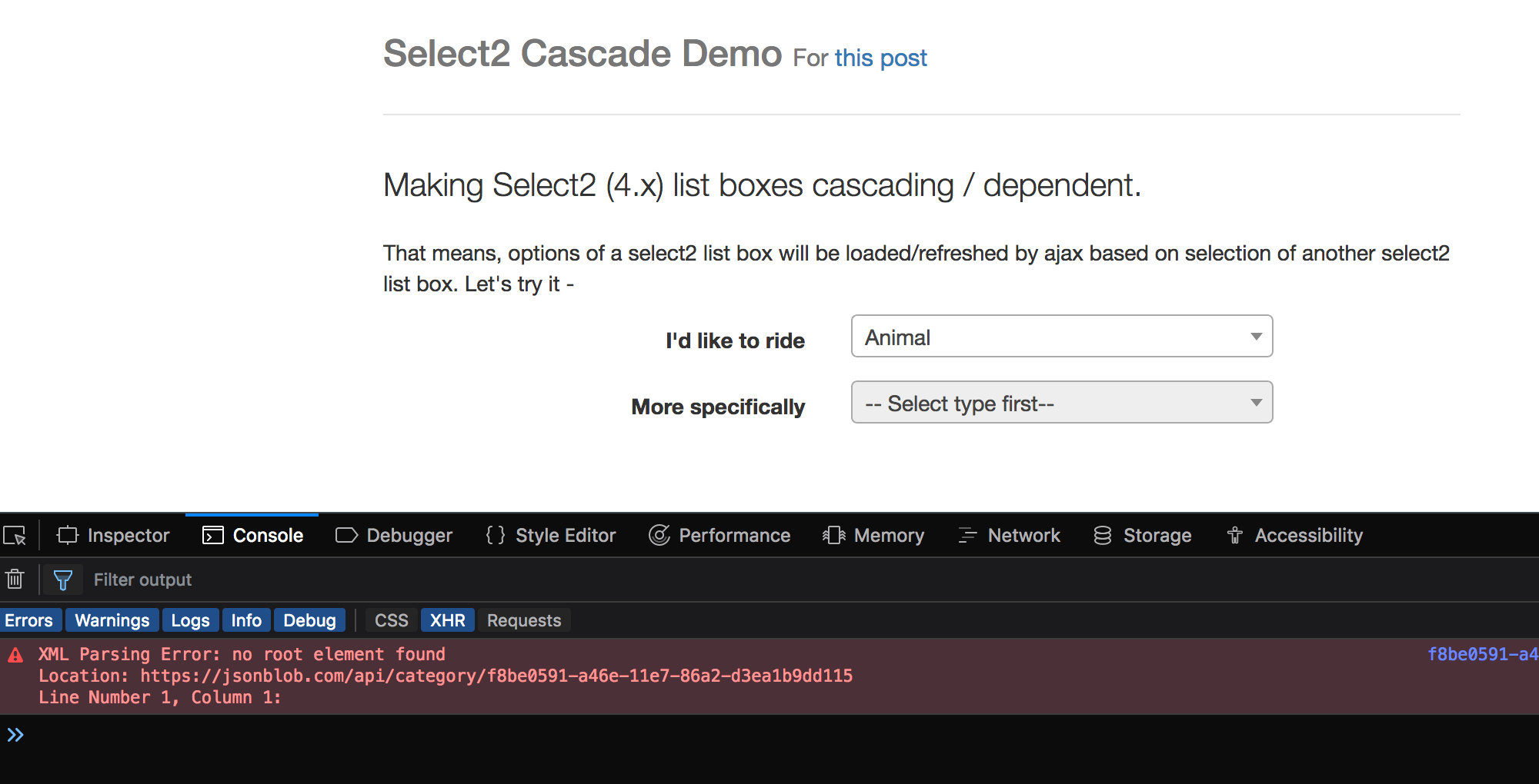 Making Select2 (4 x) list boxes cascading / dependent