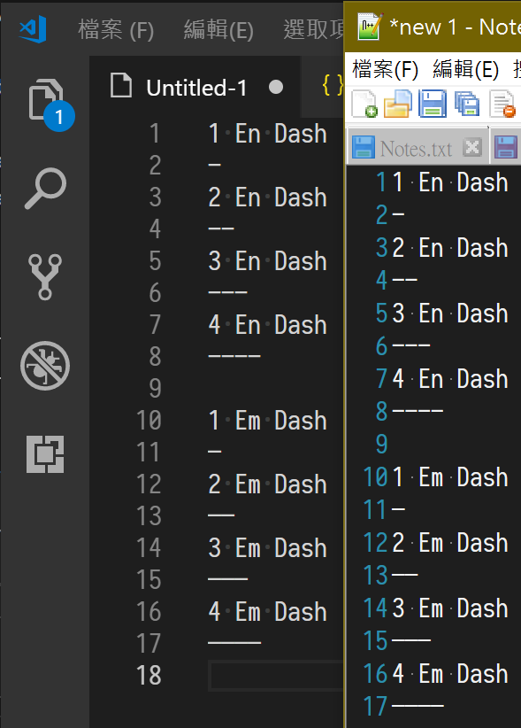 Em Dash is showed unusual on VS Code and Notepad++  · Issue