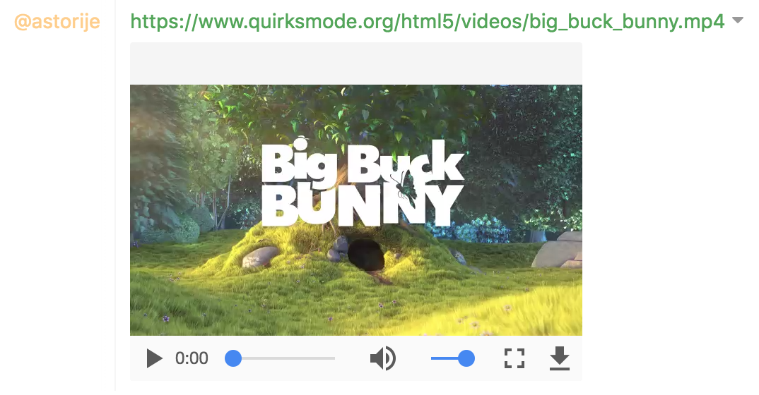Big Buck Bunny video on an embedded video player