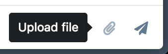Paperclip icon in the message input, with tooltip saying Upload file