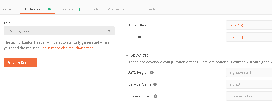 AWS Signature authentication issue old vs new postman versions