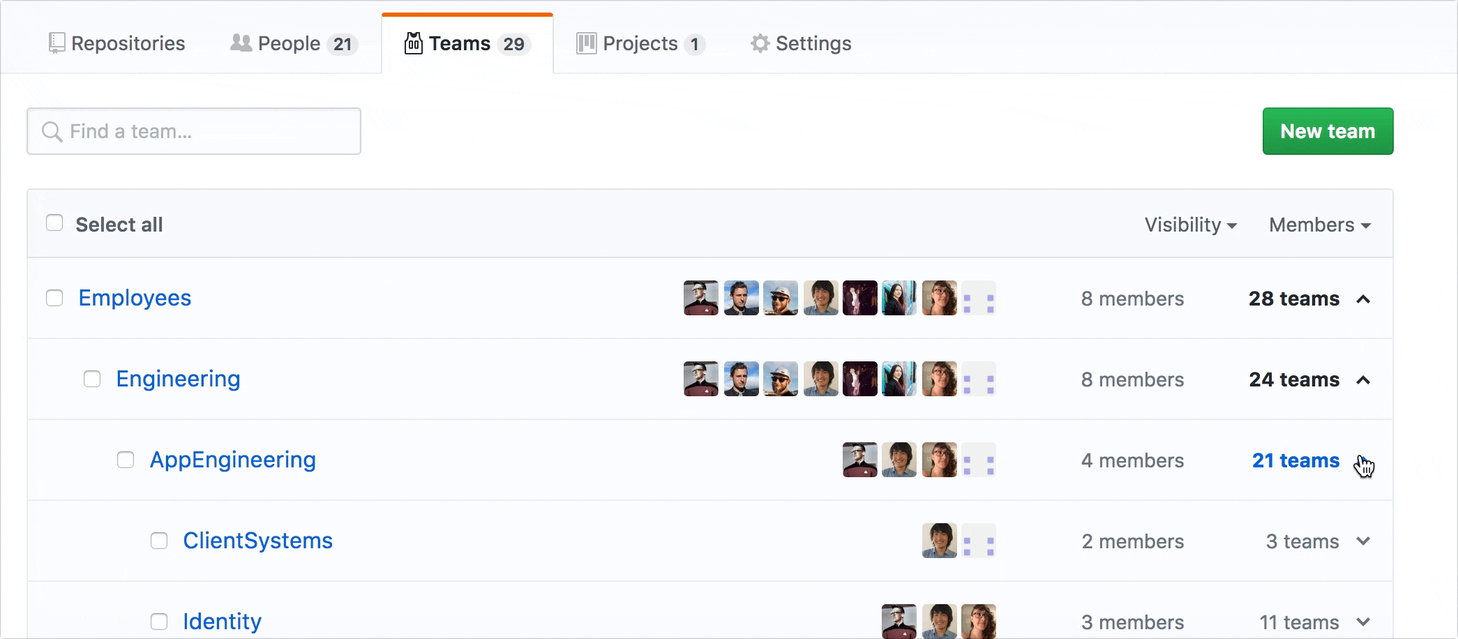 how to use nested teams