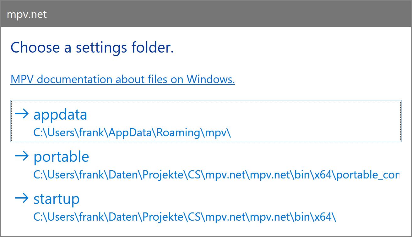 mpv net Portable should NOT create an user/appdata/roaming settings