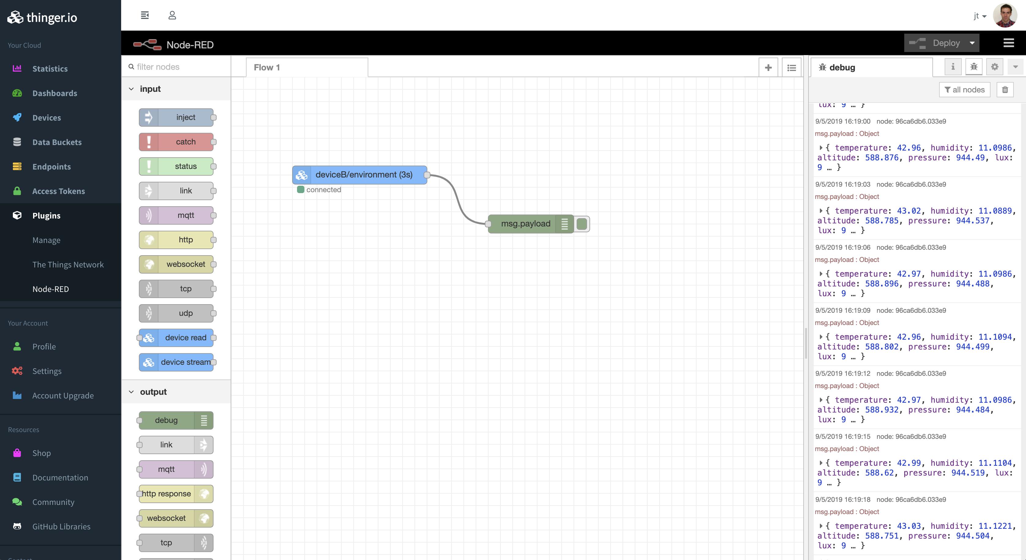 thinger/node red plugin   Docker Image   Docker Hub