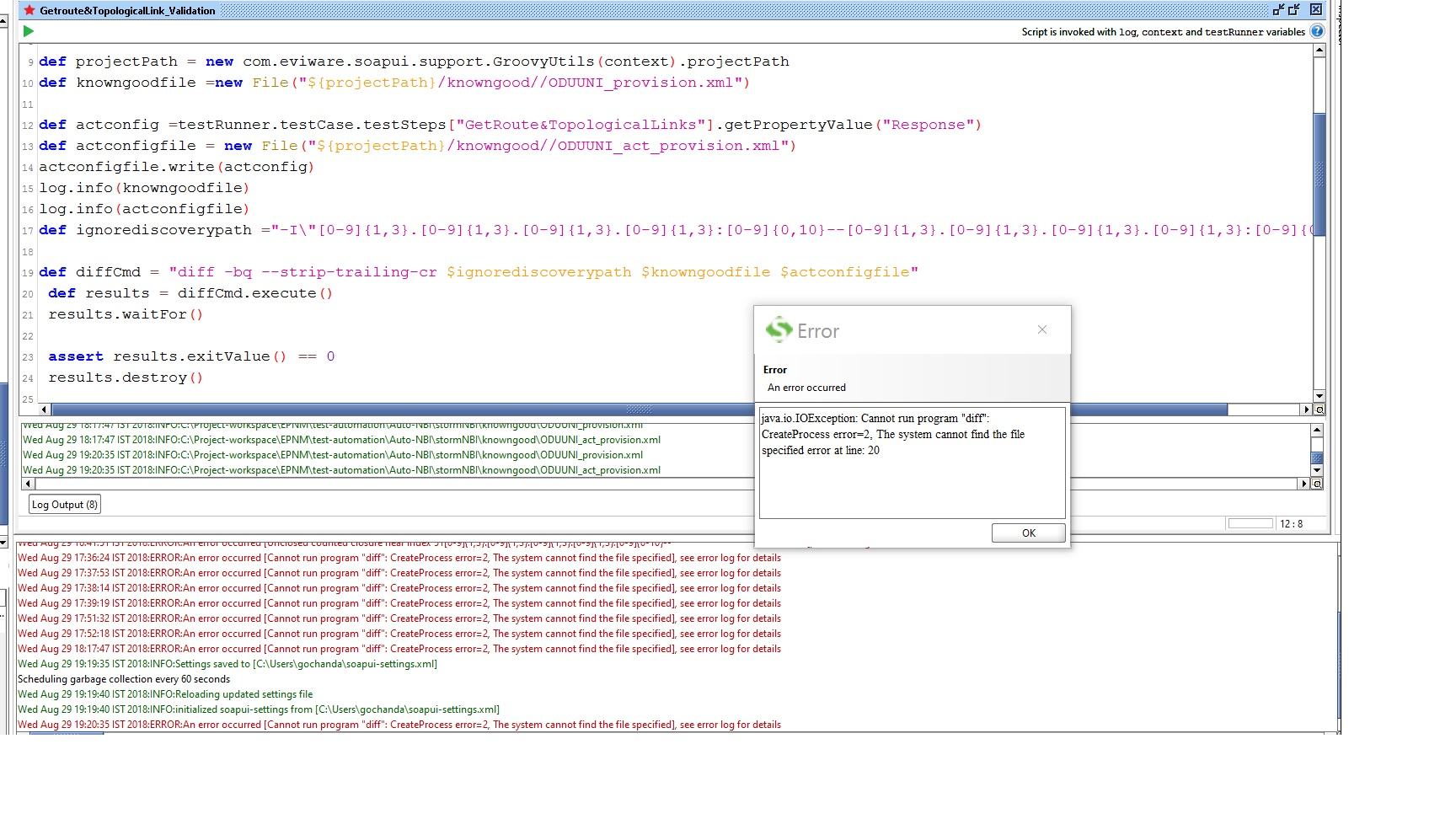 Diff XML files in SoapUI with Groovy, ignoring GUID and